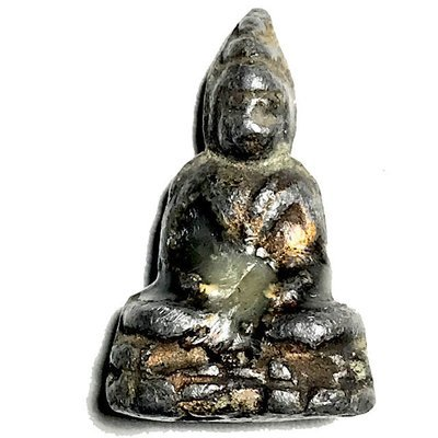 Praput Chin Dtakua Fang Khiaw Hmaa Pha 2460 BE Lead Buddha with Wolf Tooth & Victory Candlewax Luang Por Dam
