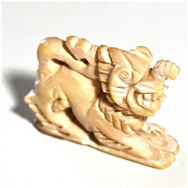 Paya Kochasri Nga Gae Carved Elephant-Lion Himapant Animal Luang Por Heng Circa 2460 BE Wat Khao Din