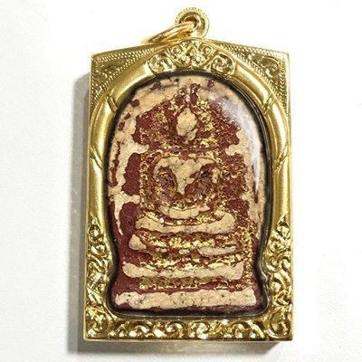 Pra Somdej Wat Rakang Long Rak Pid Tong Pim Chang Luang Wijarn Circa 2396 BE Gold Leaf Red Lacquer & Certificate Free Gold Casing