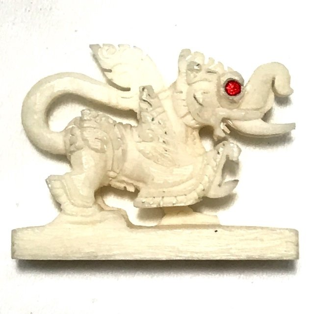 Kochasri Nga Gae Carved Himapant Animal Red Gemstone Eyes Luang Por Horm Wat Chak Hmak Free EMS