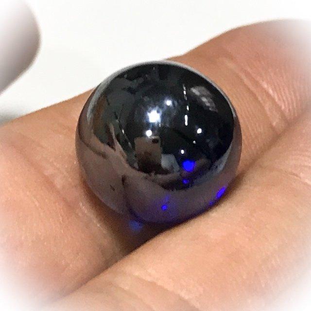 Look Gaew Sarapat Neuk Klueab Parort Alchemical Crystal Wishing Ball Blue 1.5 Cm Luang Por Opasi 2490 BE