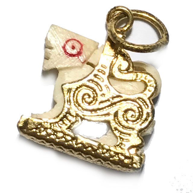 Singh Nga Gae Dta Daeng Carved Himapant Lion Brass Frame Circa 2500 BE Luang Por Horm Wat Chak Hmak 03680