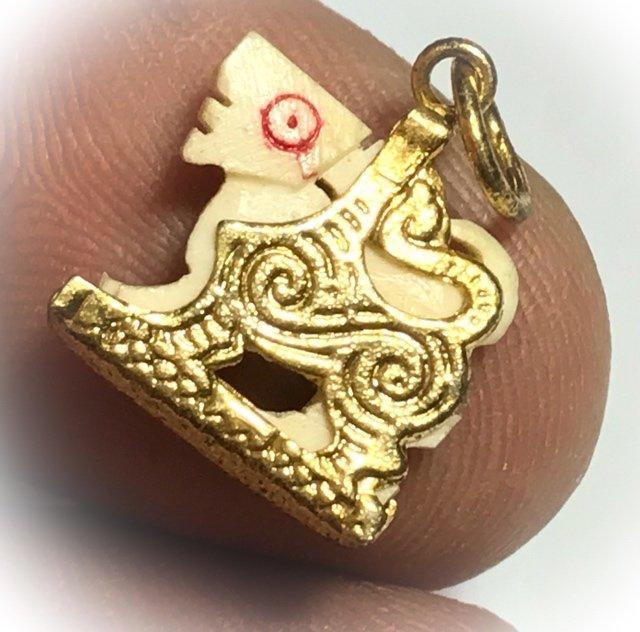 Singh Nga Gae Dta Daeng Carved Himapant Lion Brass Frame Circa 2500 BE Luang Por Horm Wat Chak Hmak