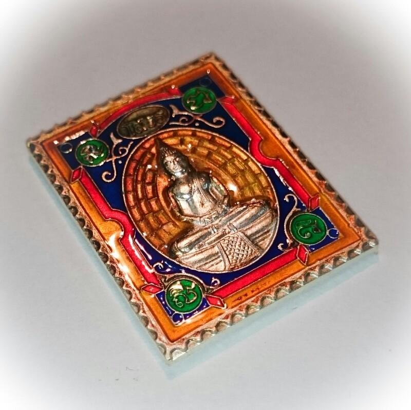 Rian Stamp Luang Por Sotorn (Yellow) - Nuea Galai Ngern Long Ya Benjarongk - Uposadha Building Edition 2539 BE
