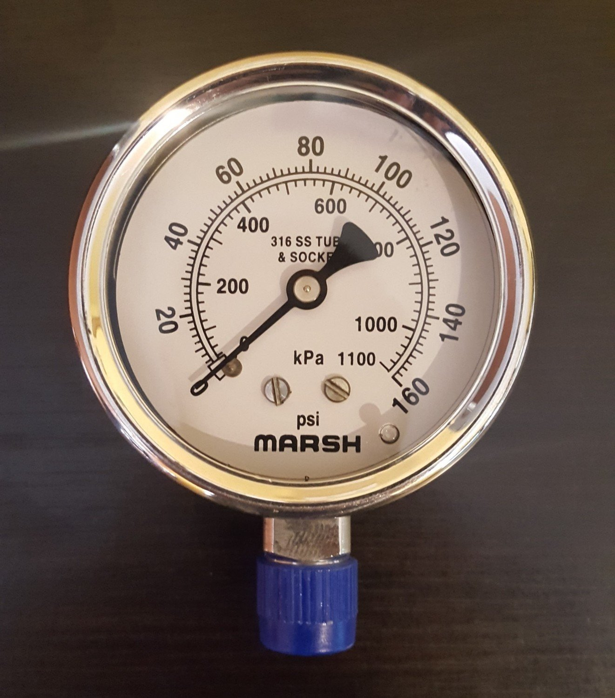 "Marsh 63MM (2.5in) Severe Service, 1/4"" NPT Lower Mount Gauge -Stainless Steel Internals"