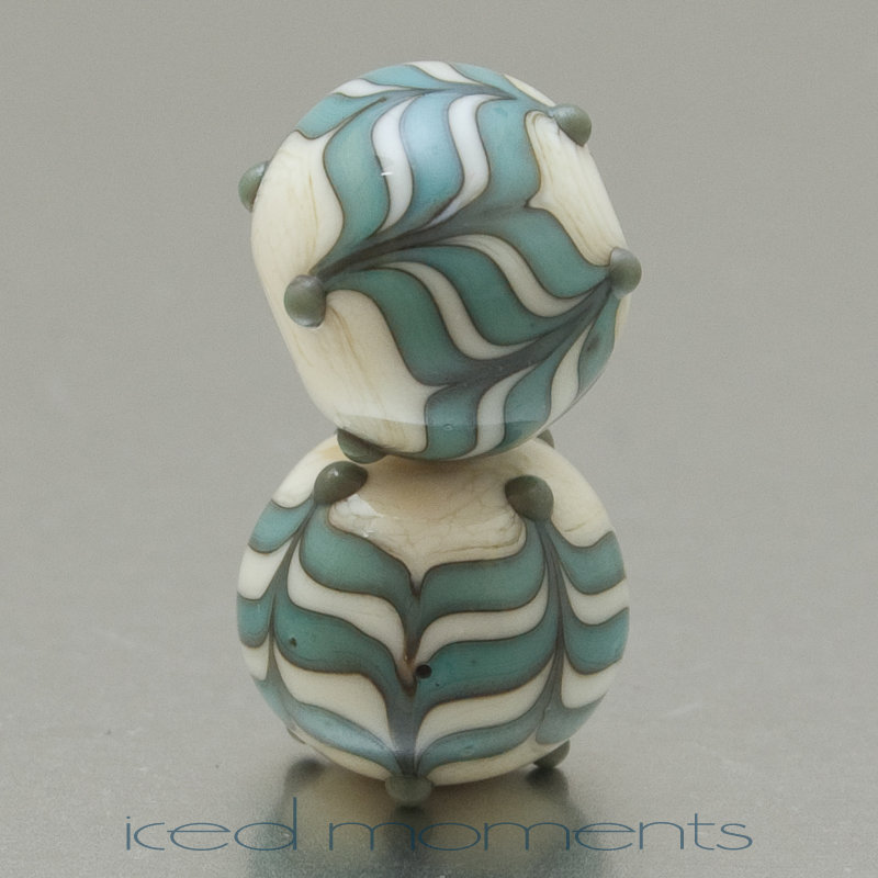 Chevron in ivory and copper green