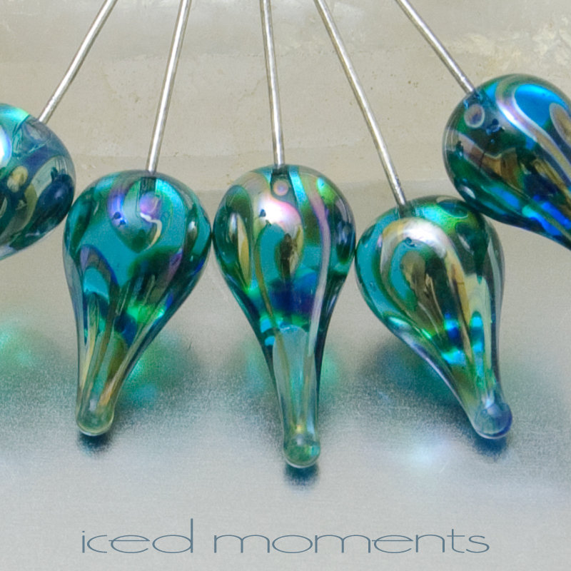 Helix teardrops in light aquamarine and silver