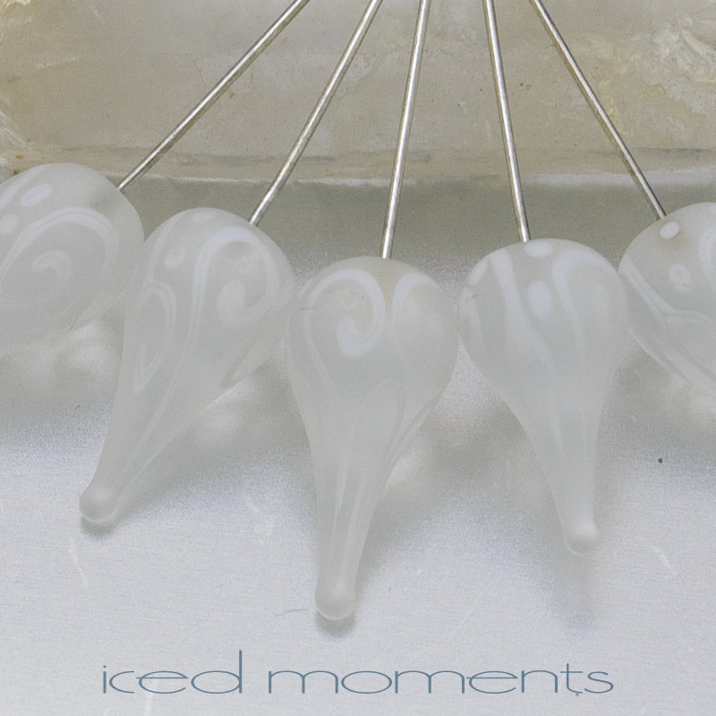 Frosted helix teardrops in white on white