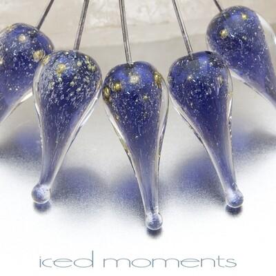 Shimmer teardrops in ink blue