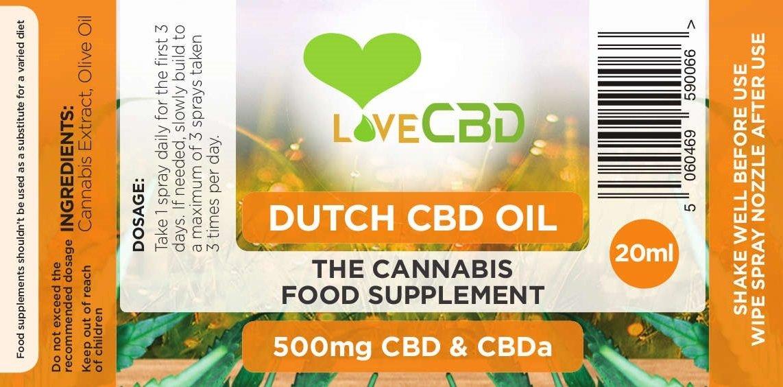 500mg Dutch CBD Oil 20ml