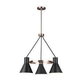 Satin Bronze / Black Three Light Chandelier