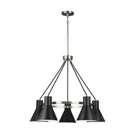Brushed Nickel / Black Five Light Chandelier