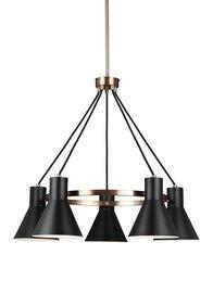Satin Bronze / Black Five Light Chandelier