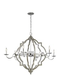 Washed Pine / Chrome Six Light Chandelier