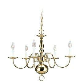 Polished Brass Five Light Chandelier