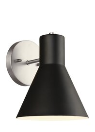 Brushed Nickel / Black One Light Wall Sconce