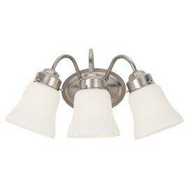 Brushed Nickel Three Light Vanity Fixtures