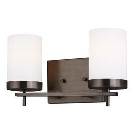 Brushed Oil Rubbed Bronze Two Light Vanity Fixtures