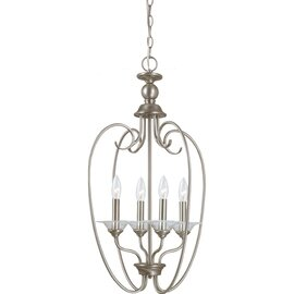 Antique Brushed Nickel Four Light Pendant