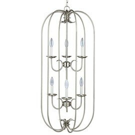 Brushed Nickel Six Light Pendant
