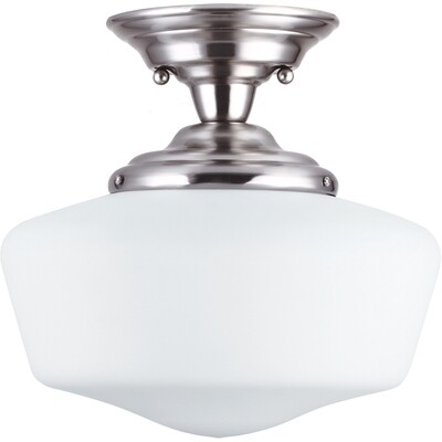 Brushed Nickel One Light Semi-Flush Mount