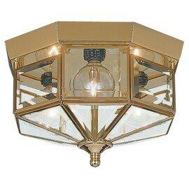 Polished Brass Three Light Flush Mount