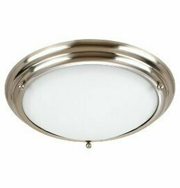 Brushed Stainless Two Light Flush Mount