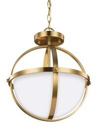 Satin Bronze Two Light Semi-Flush Convertible