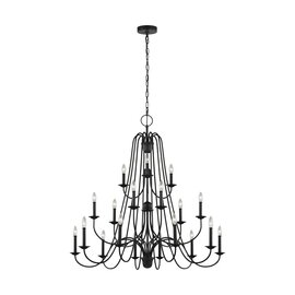Antique Forged Iron 18 Light Chandelier