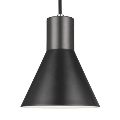 Brushed Nickel / Black One Light Mini Pendant