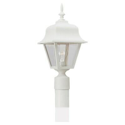 White One Light Post Mount