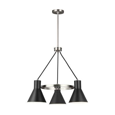 Brushed Nickel / Black Three Light Chandelier