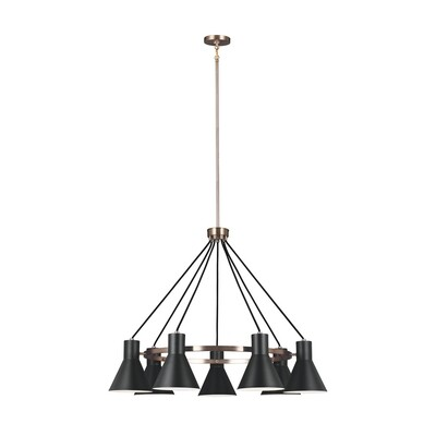 Satin Bronze / Black Seven Light Chandelier