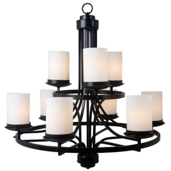 Aster Oil-Rub  Bronze 9 Lt Chandelier