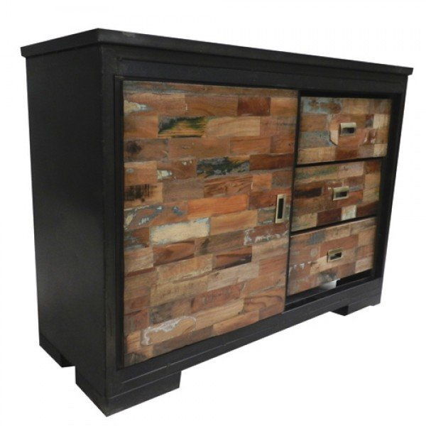 Black Finish Metal Cased Accent Chest B-702077