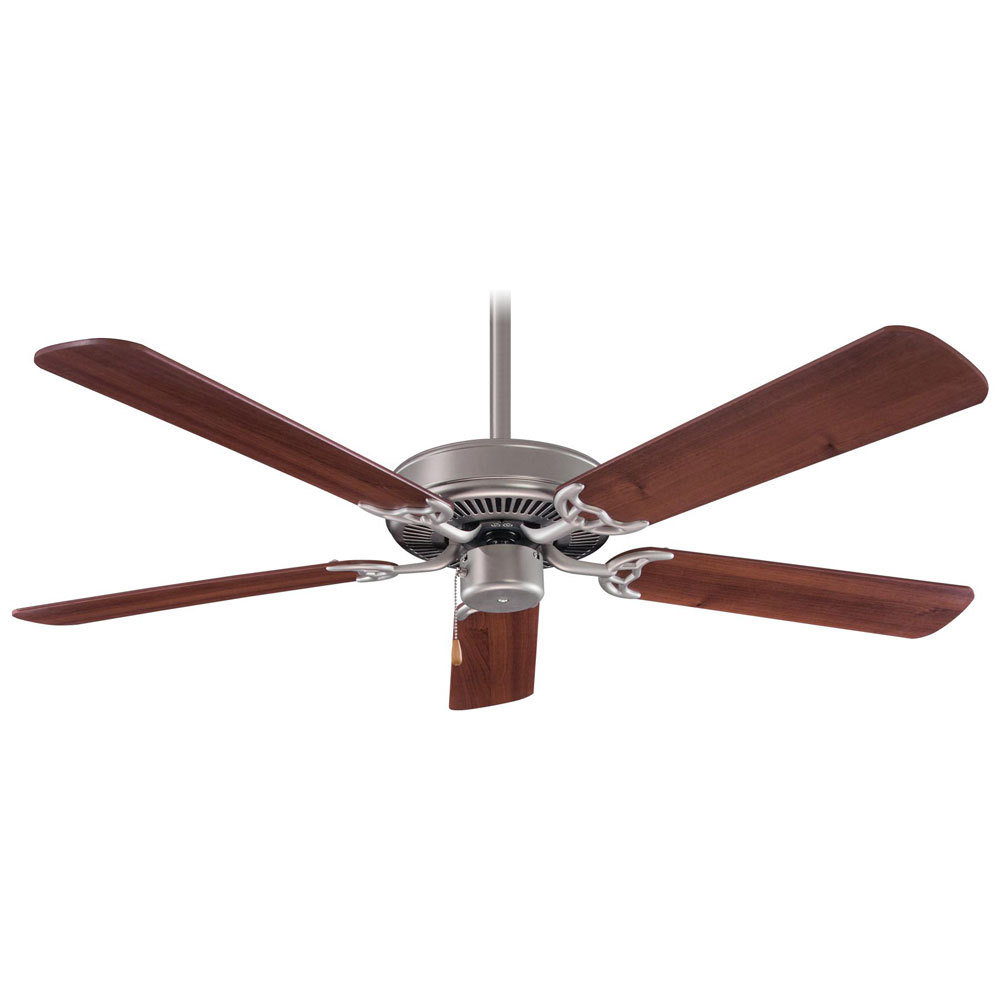 Contractor Brushed Steel Fan w/Dark Walnut Blades