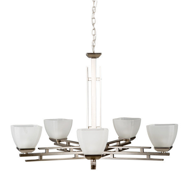 Half Dome Satin Nickel 5Lt Chandelier B-700557