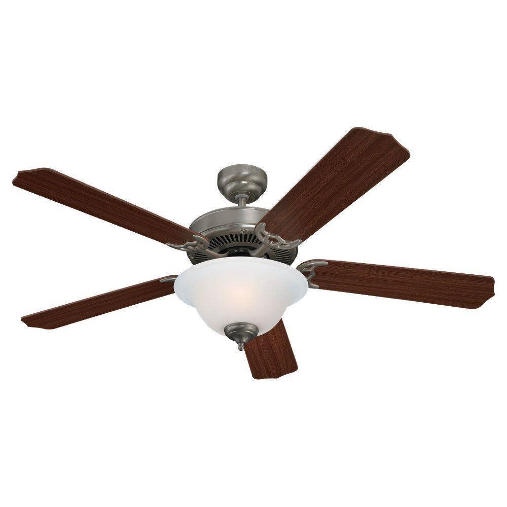 "Homebuilder II Brushed Nickel 52"" Ceiling Fan with Light Kit C-582107"