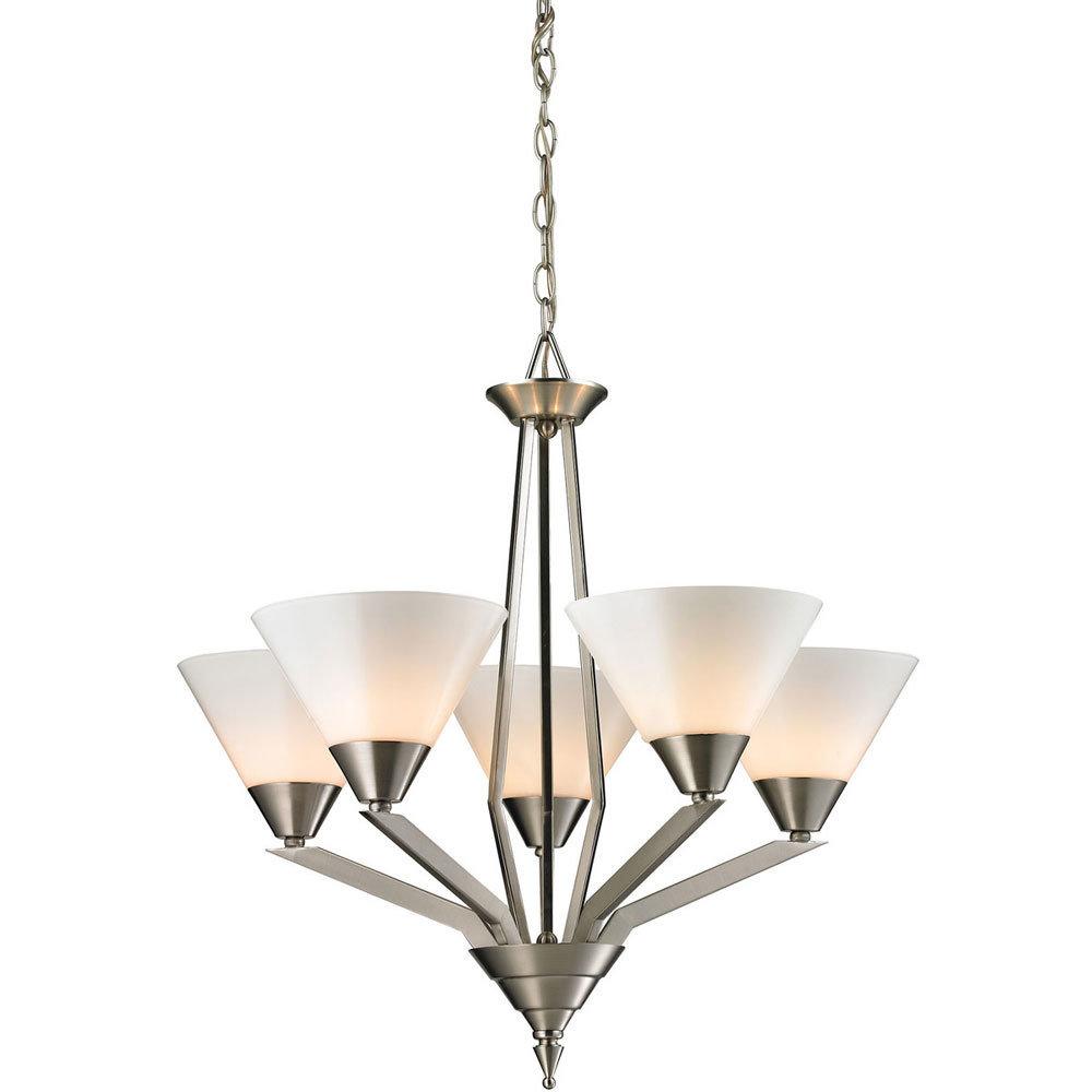 Tribecca Brushed Nickel 5 Light Chandelier T-310539