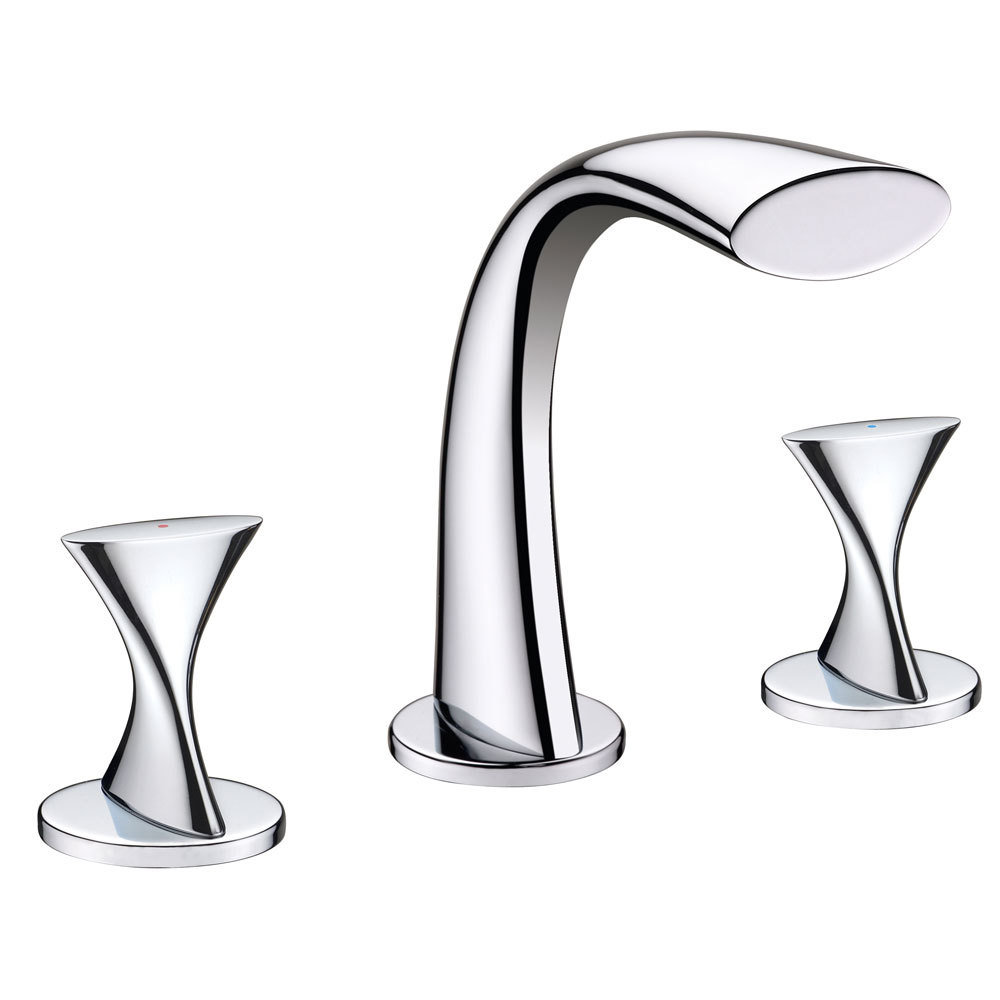 Twist Chrome Two Handle Widespread Lavatory Faucet