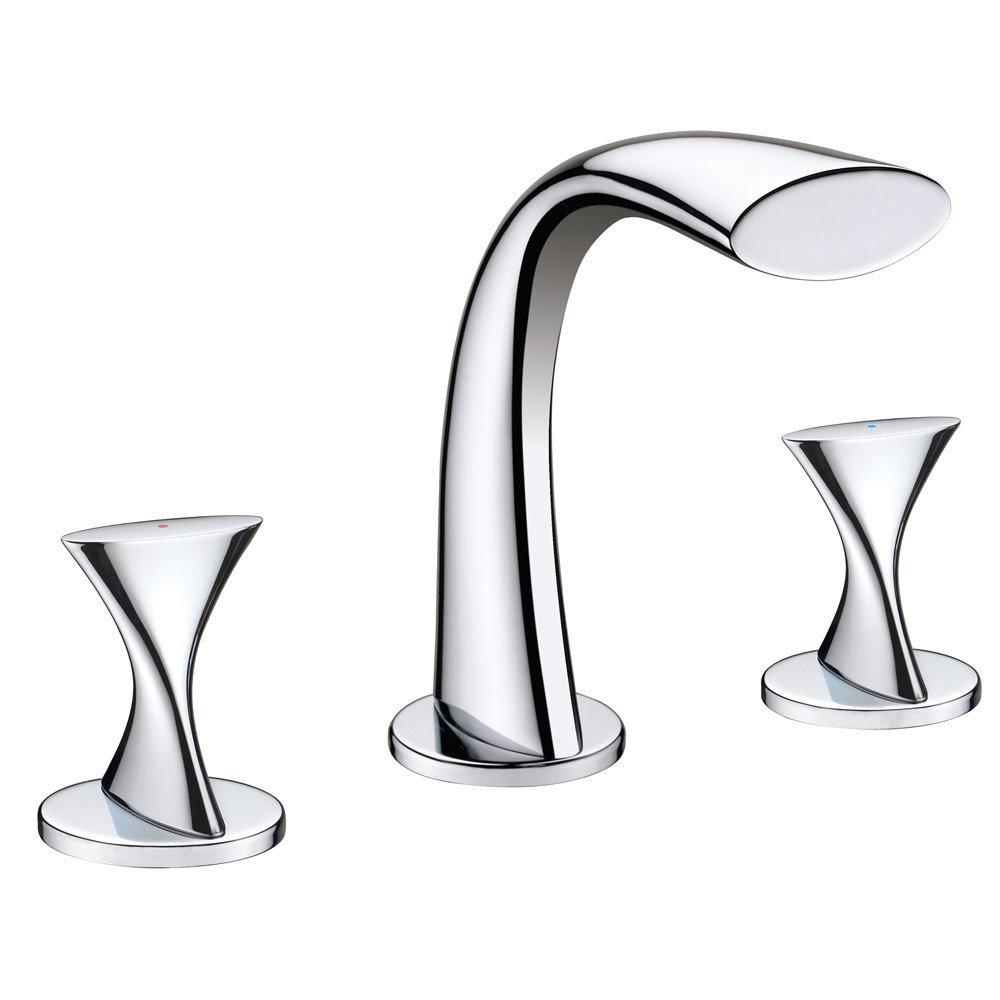 Twist Chrome Two Handle Widespread Lavatory Faucet C-910110