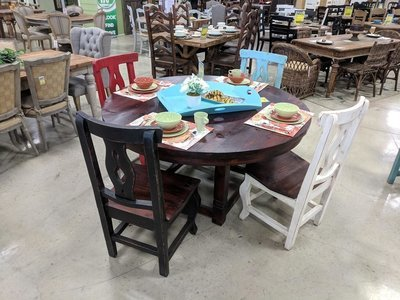 Lauro Walnut Dining Set with Red-Walnut Chairs