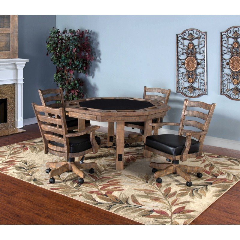 Puebla Driftwood Gaming Table Set T-835004