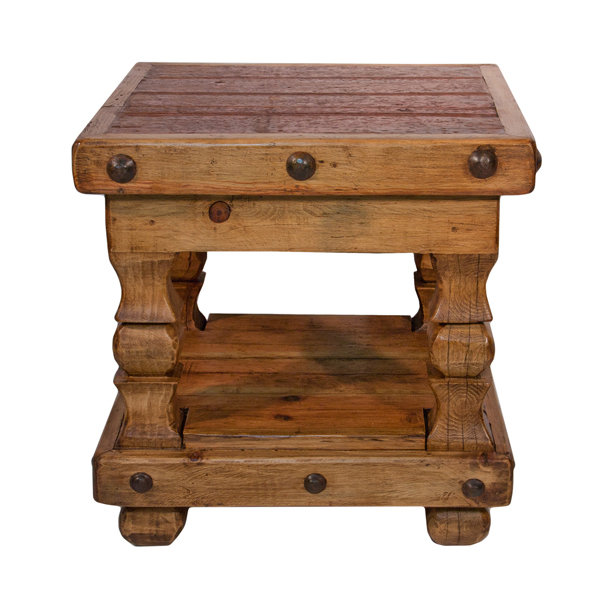Rustic End Table with Clavos