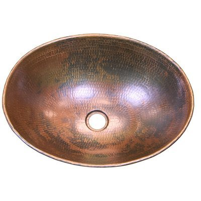 16 Ga Oval Copper Sink with Rolled Edge