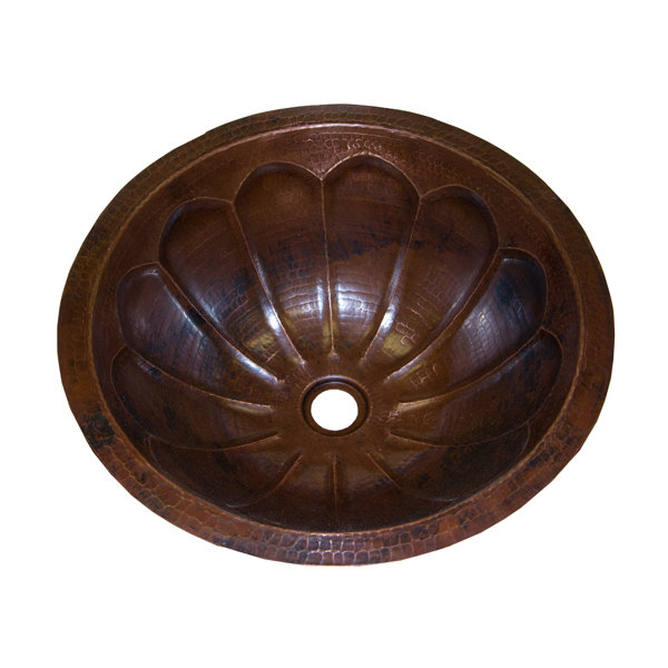 16 Ga Round Copper Sink with Fluting