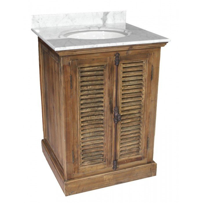 Single Reclaimed Pine Vanity with Shutters C-792002