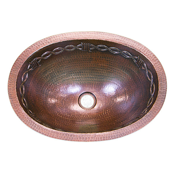 16 Ga Oval Copper Sink with Barbed Wire