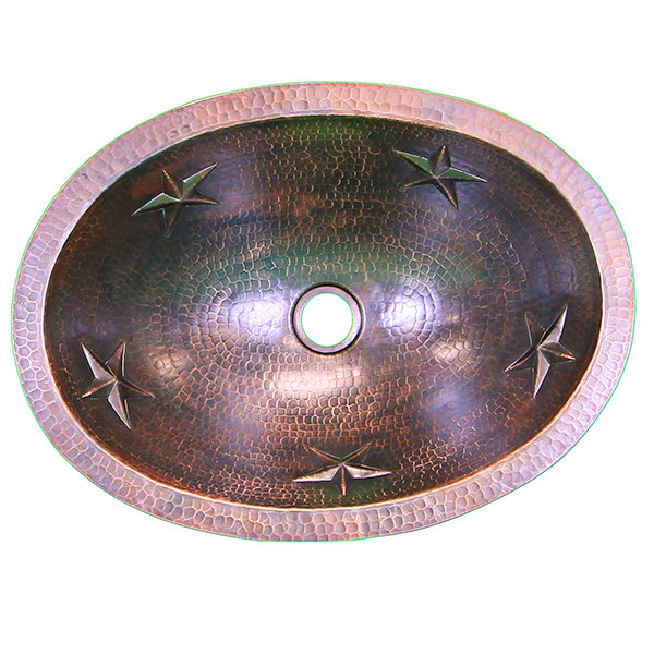 16 Ga Oval Copper Sink with Stars