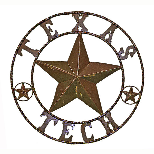 Rustic Round Texas Tech Sign T-525284